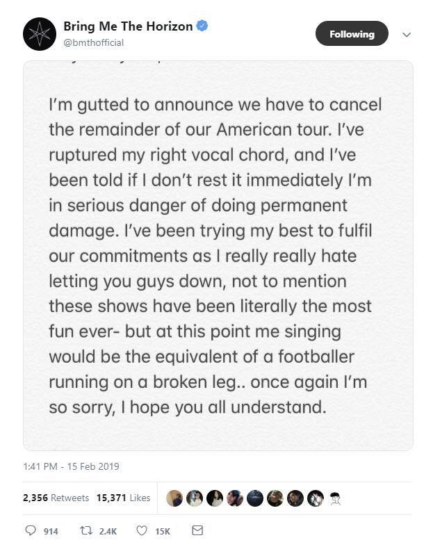 BMTH Cancel Tour